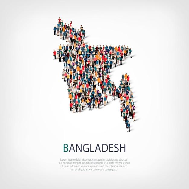 Isometrischer satz von stilen, menschen, karte von bangladesch, land, web-infografiken-konzept des überfüllten raums. crowd-point-gruppe, die eine vorbestimmte form bildet. kreative leute. Premium Vektoren