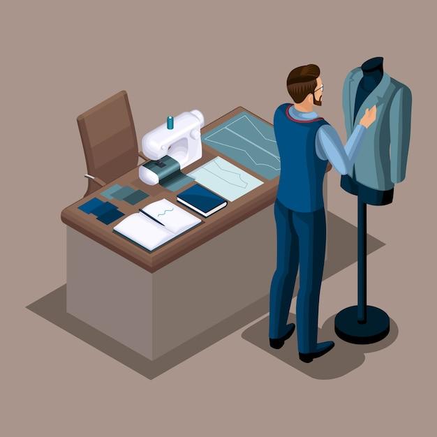 Isometrischer schneider, arbeit in einer nähwerkstatt, anziehen von kleidung auf einer schaufensterpuppe, privates atelier. der unternehmer arbeitet für sich selbst, sein eigenes geschäft Premium Vektoren