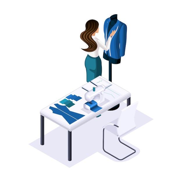 Isometrischer schneider, designer kreiert, schneidet kleidung für high fashion, kunden, privates atelier, werkstatt. der unternehmer arbeitet für sich selbst, sein eigenes geschäft Premium Vektoren