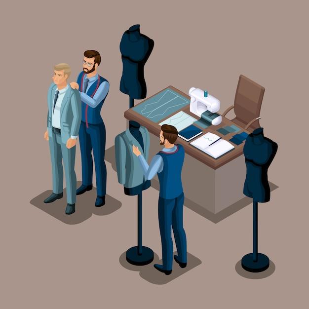 Isometrischer schneider, die herstellung von qualitätskleidung auf bestellung, eine werkstatt, ein atelier. schneiderei. der unternehmer arbeitet für sich selbst, sein eigenes geschäft setzt 4 Premium Vektoren