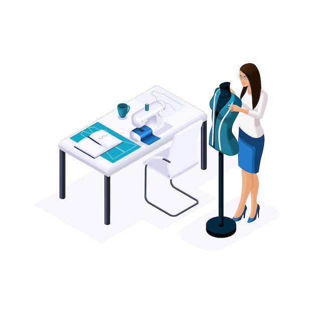 Isometrischer schneider, ein designer, der eine fertige kleidung auf eine schaufensterpuppe kleidet, für high fashion in einem studio, einer werkstatt. der unternehmer, der für sich arbeitet, hi Premium Vektoren