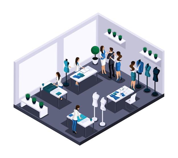 Isometrischer schneiderraum atelier prozess der nähwerkstattarbeit, kundendienst, schneiderei, skizzieren, schneiden. der unternehmer arbeitet für sich selbst, sein eigenes geschäft Premium Vektoren