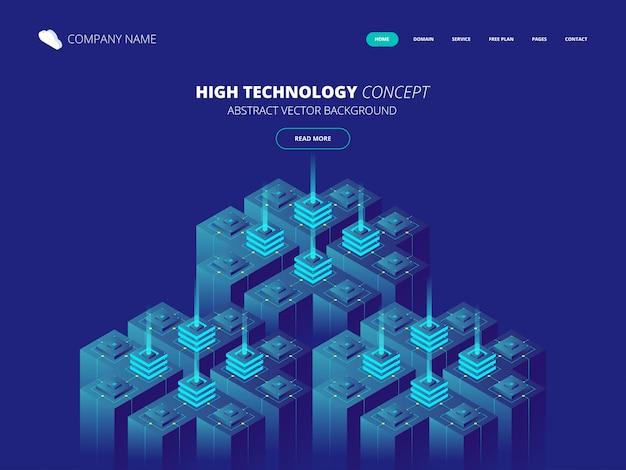 Isometrischer serverraum und big-data-verarbeitungskonzept, rechenzentrums- und datenbanksymbol, digitale informationstechnologie Premium Vektoren