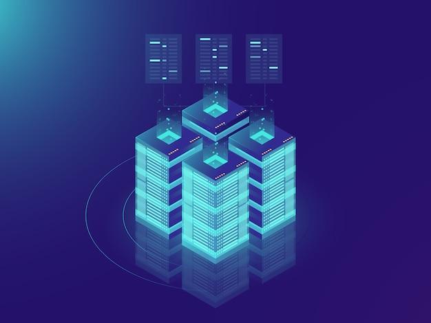 Isometrischer serverraum und großes datenverarbeitungskonzept, datenzentrum und datenbankikone Kostenlosen Vektoren