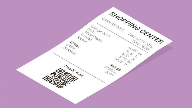 Isometrischer shopbeleg, papierzahlungsrechnung Kostenlosen Vektoren