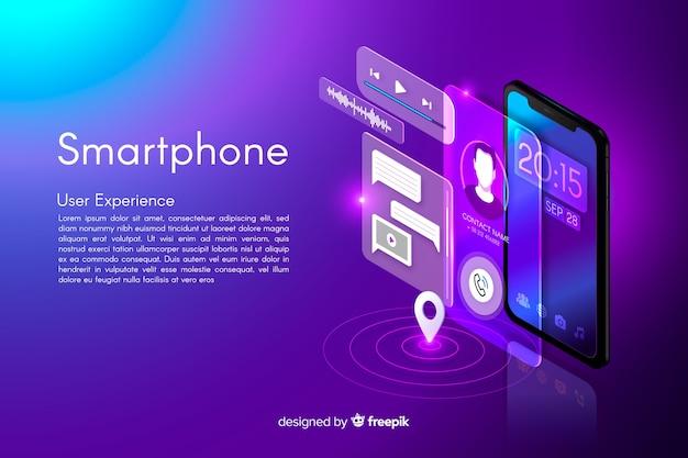 Isometrischer smartphone-hintergrund Kostenlosen Vektoren