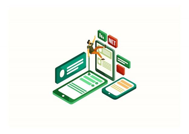 Isometrischer social media influencer Premium Vektoren