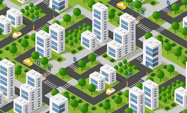 Isometrischer stadtbereich Premium Vektoren