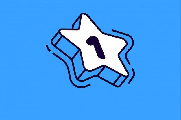 Isometrischer stern mit der nummer eins auf blau Kostenlosen Vektoren