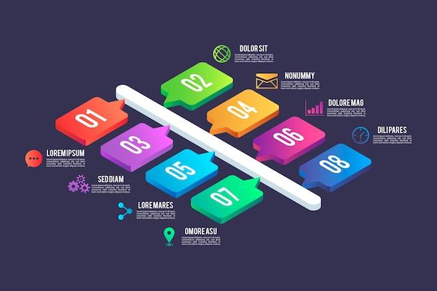 Isometrischer stil der infografik-elemente Kostenlosen Vektoren
