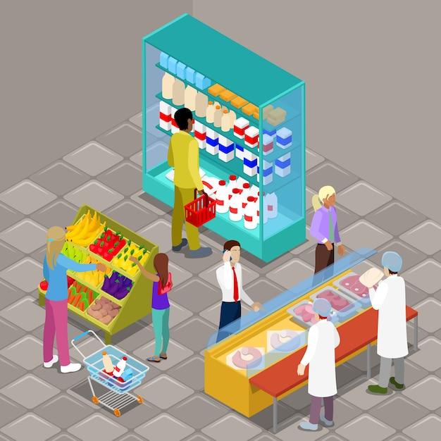 Isometrischer supermarkt-innenraum mit käufern und produkten. Premium Vektoren