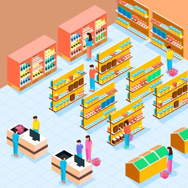 Isometrischer supermarkt Kostenlosen Vektoren