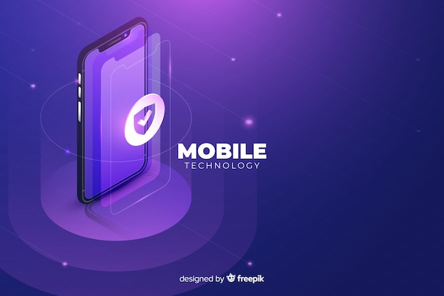 Isometrischer technologiehintergrund steigung smartphone Kostenlosen Vektoren