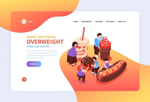 Isometrischer überessender gefräßigkeitswebsiteseiten-designhintergrund mit bildern von schädlichen lebensmittelleutelinks und von textillustration Kostenlosen Vektoren