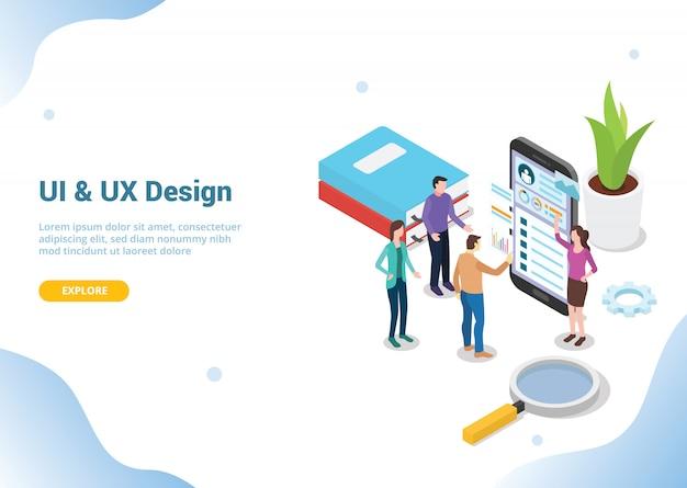 Isometrischer uiux-designer für website-vorlage Premium Vektoren
