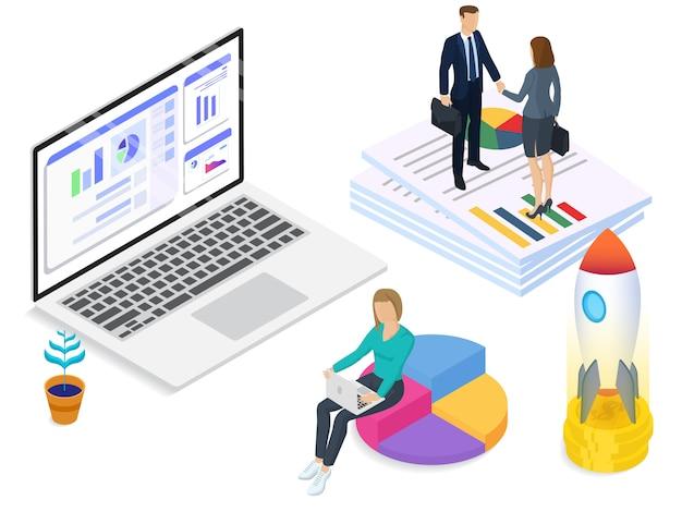 Isometrischer vektor der startfirma Premium Vektoren