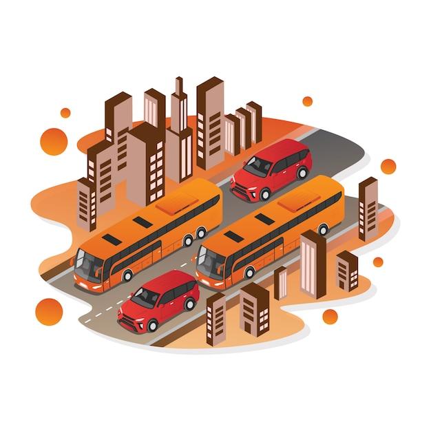 Isometrischer vektor des autos und des busses für illustration Premium Vektoren