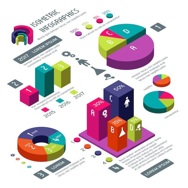 Isometrischer vektor des geschäfts 3d infographic mit farbdiagrammen und -diagrammen Premium Vektoren