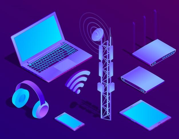 Isometrischer violetter laptop 3d, router mit wi-fi und radioverstärker. ultravioletter computer Kostenlosen Vektoren