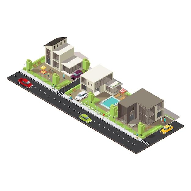 Isometrischer vorstadtbezirk Kostenlosen Vektoren