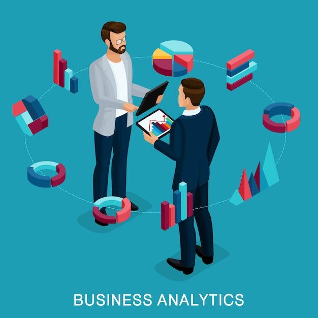Isometrischer wirtschaftsanalytiker, männlicher geschäftsmann, konzeptplanung. Premium Vektoren