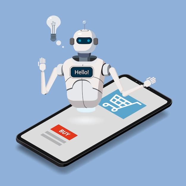 Isometrischer wissenschafts-chat-bot, smartphonekonzept. online-verkäufer Premium Vektoren
