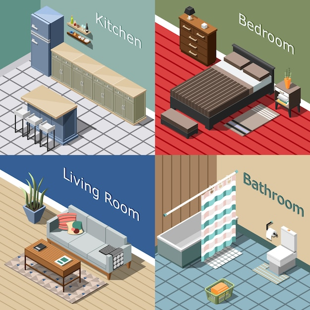 Isometrischer zusammensetzungssatz des wohninnenraums Kostenlosen Vektoren
