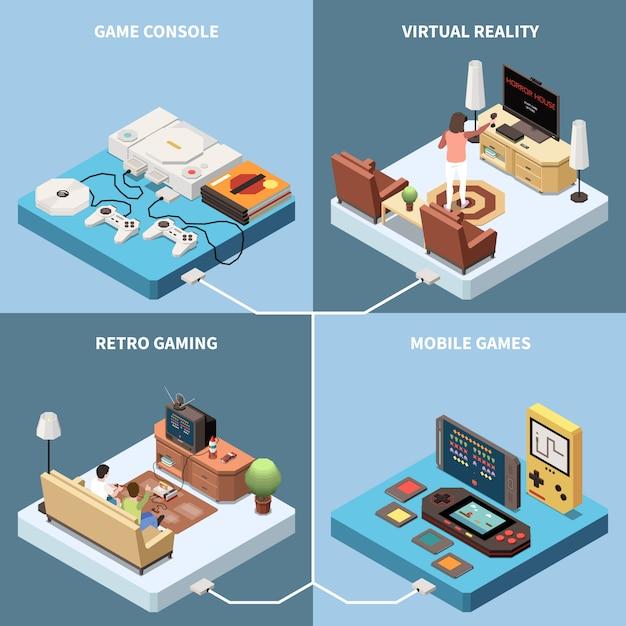 Isometrisches 2x2-designkonzept für gaming-spieler mit bildern von spielekonsolen und wohnzimmern mit personen Kostenlosen Vektoren