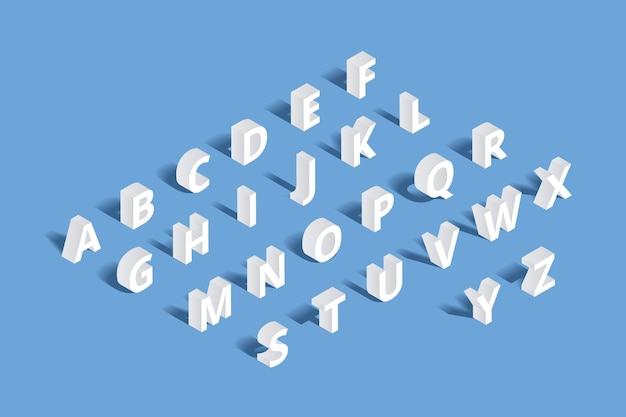 Isometrisches 3d-alphabet. design brief, typografie abc satz, zeichen geometrisches tippfehlerzeichen Kostenlosen Vektoren