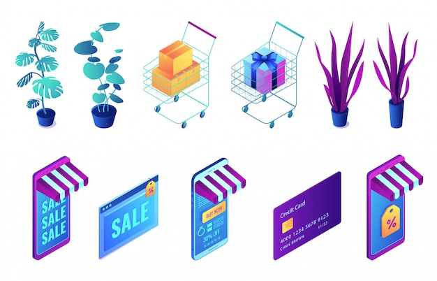 Isometrisches 3d-illustrationsset für online-einkäufe und pflanzen. Premium Vektoren