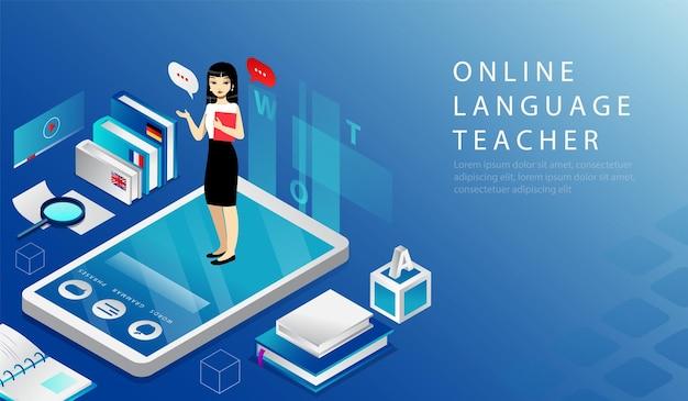 Isometrisches 3d-konzept des online-sprachlehrers, fernunterrichtskurs. website landing page. frau steht auf großem smartphone, das lehrbuch in händen hält. webseiten-cartoon-vektor-illustration. Premium Vektoren
