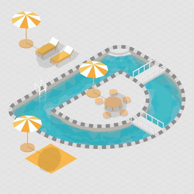 Isometrisches alphabet 3d des swimmingpools 3d Premium Vektoren