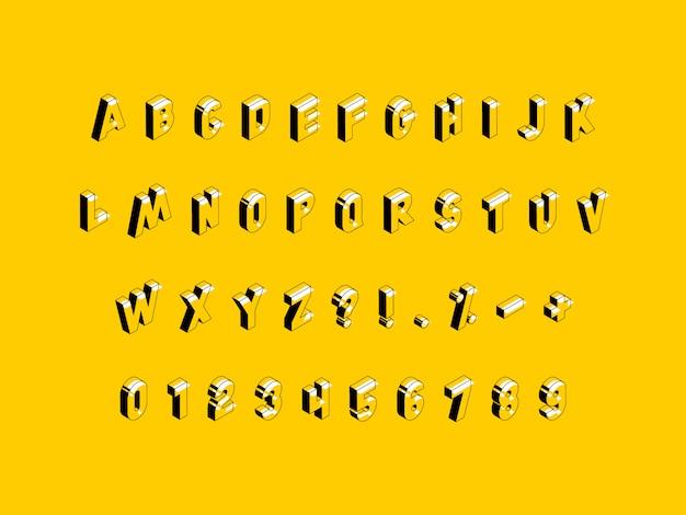 Isometrisches alphabet auf gelbem grund Premium Vektoren