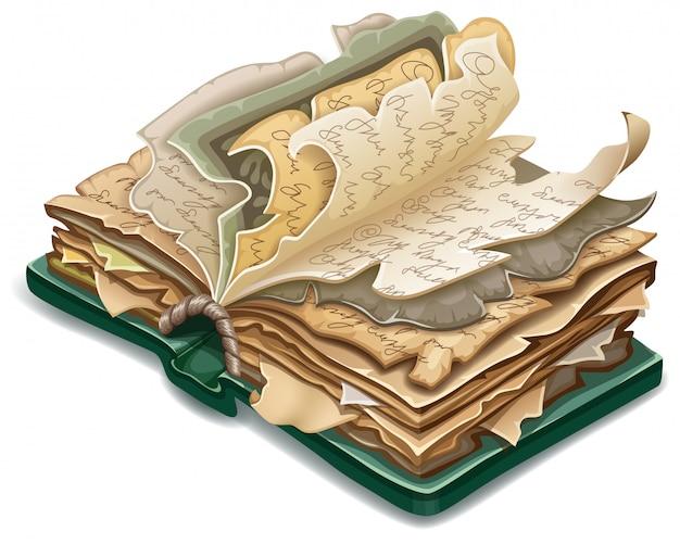 Isometrisches altes buch der zaubersprüche und der hexerei Kostenlosen Vektoren