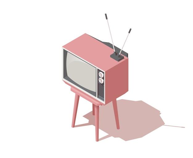 Isometrisches analoges retro-tv mit antenne Premium Vektoren