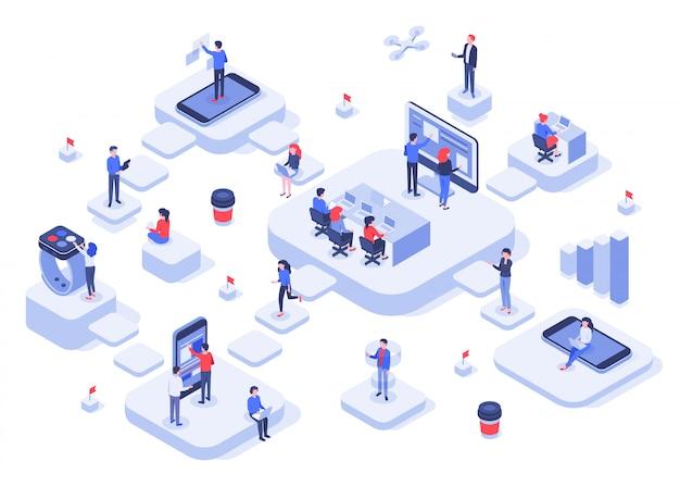 Isometrisches arbeitsteam. cloud-workplace-plattformen, workflow-prozess moderner teams und abbildung des starts eines entwicklungsunternehmens Premium Vektoren