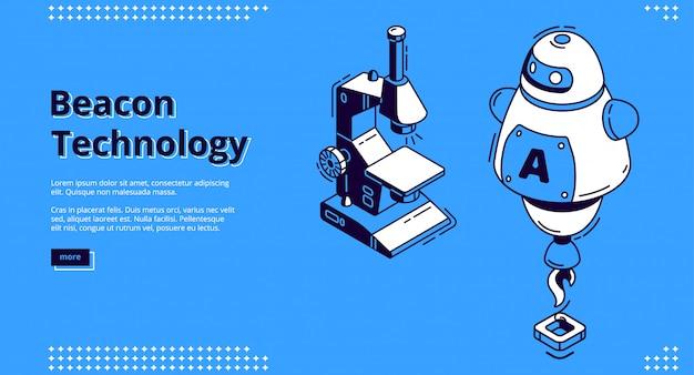 Isometrisches banner der beacon-technologie mit roboter Kostenlosen Vektoren