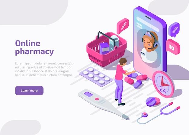 Isometrisches banner der online-apotheke mit einkaufstasche, tabletten, apotheke. Kostenlosen Vektoren