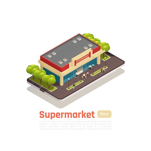 Isometrisches banner des einkaufszentrums-einkaufszentrums mit supermarktgebäude und knopf mehr vektorillustration Kostenlosen Vektoren