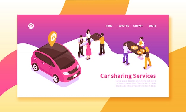 Isometrisches banner des fahrgemeinschaftsdienstes Kostenlosen Vektoren