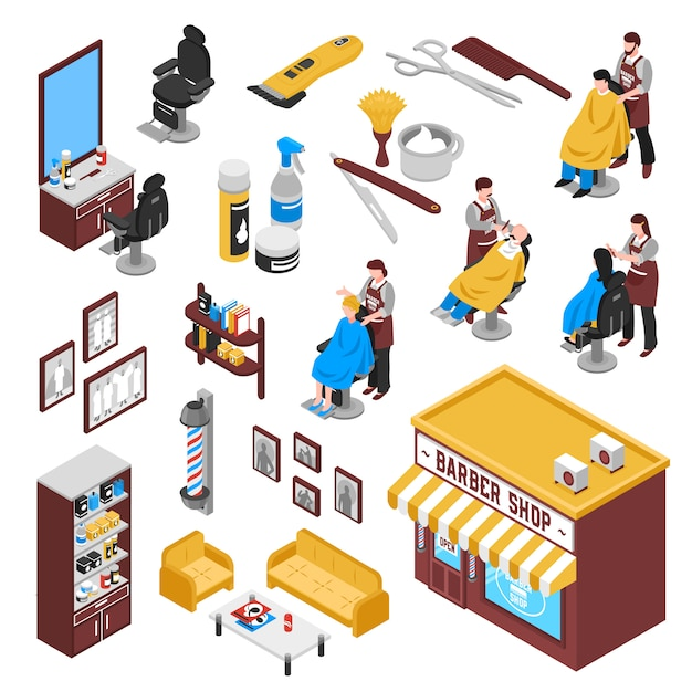 Isometrisches barbershop-set Kostenlosen Vektoren