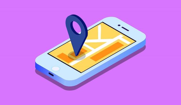 Isometrisches bewegliches gps-navigationskonzept 3d, smartphone mit stadtplananwendung und markierungsstiftzeiger Premium Vektoren