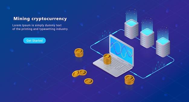 Isometrisches blockchain-miningkonzept der kryptowährung, bitcoins Premium Vektoren
