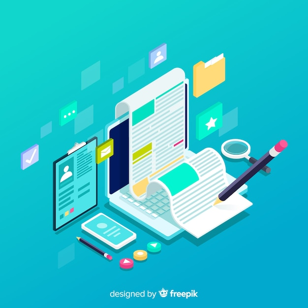 Isometrisches blogging-konzept Kostenlosen Vektoren