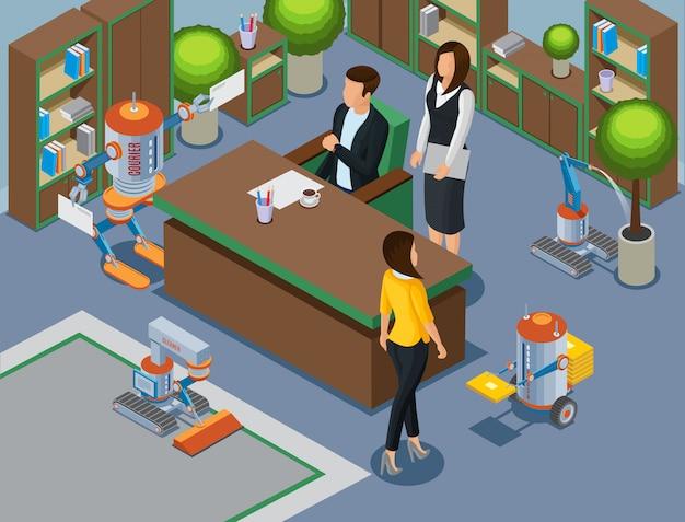 Isometrisches büro des zukünftigen konzepts mit geschäftsmechanikern und robotern, die teppichgießanlage reinigen, brachte briefe Kostenlosen Vektoren