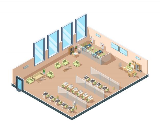 Isometrisches büro. großer offener arbeitsbereich für unternehmen, in dem innenschränke mit tischen, stühlen und geräten für manager gebaut werden Premium Vektoren