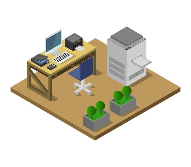 Isometrisches büro Kostenlosen Vektoren