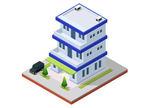 Isometrisches bürogebäude mit auto. kommerzielles bürogebäude isolierte illustration Premium Vektoren