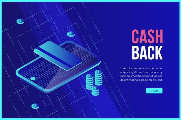Isometrisches cashback-konzept mit smartphone Kostenlosen Vektoren
