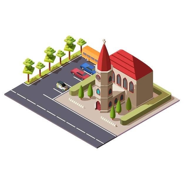 Isometrisches christlich-katholisches kirchengebäude Kostenlosen Vektoren